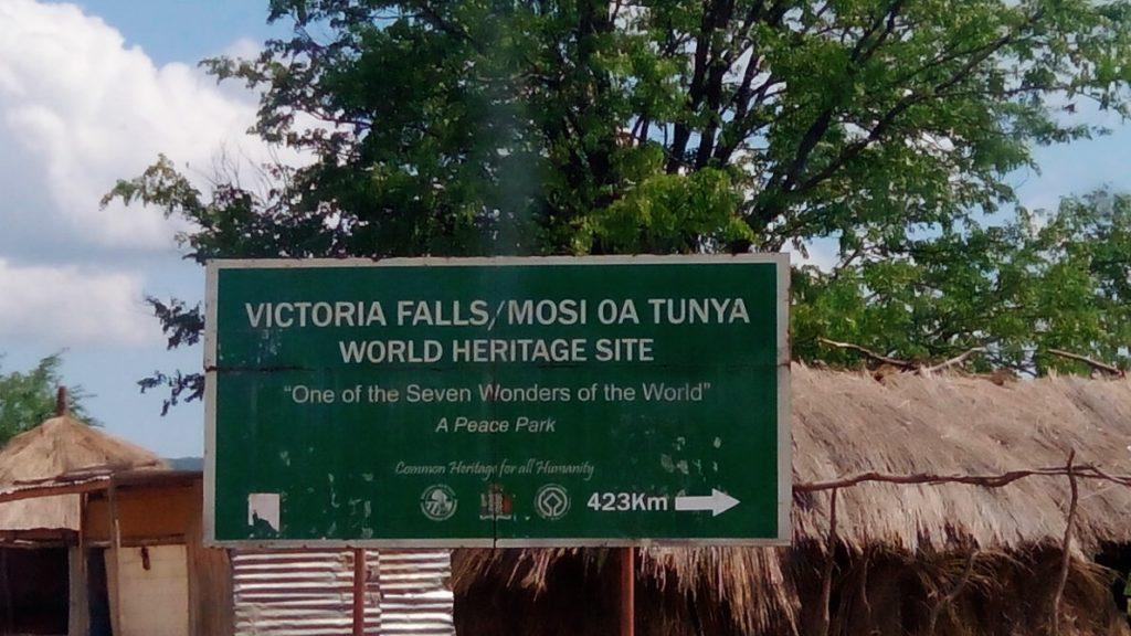 sign board for victoria falls